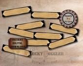Junk Journal Labels Printable Sheet JPG File ~ 30 Filing Envelope Tags ~ Antique Test Tube Label Black Vintage Victorian Goth Office Supply