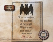 DRACULA Bram Stoker Bat Quote Printable JPG ~ Spooky Party Decoration ~ Aged Coffee Stain Vintage Goth Text Halloween Decor Junk Journal