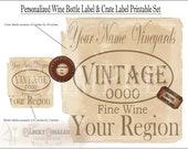 CUSTOM Crate & Bottle Labels Printable Set 1 jpg of 6 Bottle Labels, 1 pdf Crate Label Prohibition Speakeasy Roaring 20s YOUR NAME Vineyards
