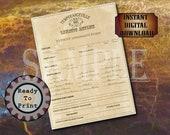 Asylum Admission Form Printable Escape Room Murder Mystery Party Prop ~ TEMPERANCEVILLE LUNATIC ASYLUM 8.5X11 ~ Patient Fits, Egotism, Abuse