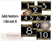 Roaring 20s Table Numbers ~ 5 Printable JPG Files ~ Prohibition Roaring 20s Party ~ Gatsby Era Speakeasy Wedding Decor ~ Gold Black Art Deco
