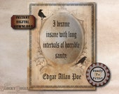 Poe Sanity Quote Printable JPG ~ Spooky Party Decoration ~ Aged Coffee Stain Paper Frame ~ Goth Text Halloween Decor Junk Journal Sheet