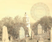 Cemetery Printable Old Spooky Goth Halloween Decoration Scrapbook Sheet Aged Photo Gravestones Headstone Image Plymouth Massachusetts Graves