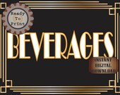 Beverages Sign Roaring 20s Prohibition Era Art Deco Printable Gatsby Party Gold Black White Wedding Centerpiece Speakeasy Bar Drinks Sign