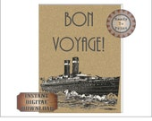 Bon Voyage Sign Printable ~ Roaring 20s Travel Poster ~ Gatsby Era Art Deco Wedding Decor Party Supply ~ Wall Art Home Decor Steamship