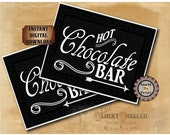 Hot Chocolate Bar Printable Directional Signs ~ Christmas Holiday Party Winter Wedding Buffet Left Right Arrows New Year's Eve Party Decor