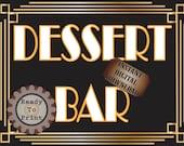 Dessert Bar Sign Roaring 20s Prohibition Era Art Deco Gatsby Inspired Gold Black White Wedding Speakeasy Party Food Station Illuminate Sign