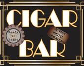 Cigar Bar Roaring 20s Sign ~ Art Deco Prohibition Gatsby Era Inspired Gold Black White Wedding Centerpiece ~ Party Front Door or Bar Decor