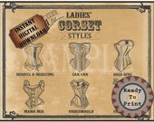 "Ladies Corset Styles Printable 11X14"" Sign Victorian Steampunk Sweetheart Can-can High Dive Mama Mia Underworld Fraulein Sexy Lingerie Names"