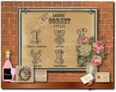 """Corset Styles Printable 11X14"""" Sign Victorian Steampunk Ladies Sweetheart Can-can High Dive Mama Mia Underworld Fraulein Sexy Lingerie Names"""