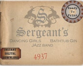 Sergeant's Speakeasy Sign Card Printable Prohibition Era Roaring 20s Style Art Deco Gatsby Party Wedding Centerpiece Bar Front Door Sign