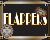 Flappers Restroom Sign Printable Roaring 20s Prohibition Era Art Deco Gatsby Party Gold Black White Wedding Speakeasy Themed Illuminate Sign