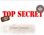 TOP SECRET Printable Stencil Image ~ jpg File ~ Digital Download DIY Detective Mystery Puzzle Riddle Party Guest Favor Craft ~ Uncut Text