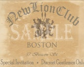 "Custom Speakeasy Invitation Cards ~ Printable Prohibition Era Roaring 20s Style Art Deco Party Wedding Personalized 4 3/4 X 6 3/4"" Invites"