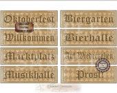 "OKTOBERFEST Printable Sign JPG Set ~ 8 German Aged Ivy Black Harlequin Greeting & Directional 4X11"" Banners ~ Willkommen, Prost, Bierhalle"