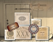5 MOONSHINE Bootlegger Crate Labels Printable Wild West, Hillbilly, Cowboy Party Props, Country Barn Wedding MOON Shine, Man in Moon, XXX