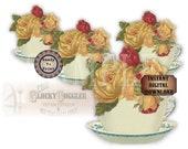 "Yellow Rose Teacup Bouquet SVG Vector Clip Art ~Jpg, Png, Eps, Dxf ~ 6X6"" Victorian Scrap ~ Cutting Machines, Tshirt, Craft, Tea Party Decor"