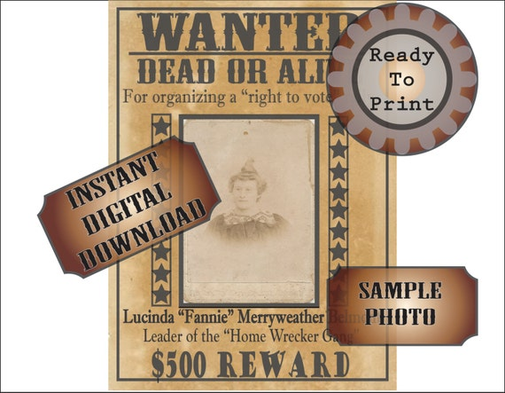 Wanted Poster Printable Old West Bachelorette Party Decor