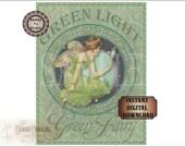 GREEN FAIRY Sign Printable Set ~ Green Light Absinthe ~ Steampunk Victorian, Art Nouveau Speakeasy, Roaring 20s Bar, Old West Saloon Poster