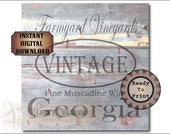 """GEORGIA MUSCADINE WINE Crate Label 18x18"""" pdf ~ 1 Weathered Pirate Bootlegger Prohibition Speakeasy Old West Roaring 20s Shipping Box Decor"""