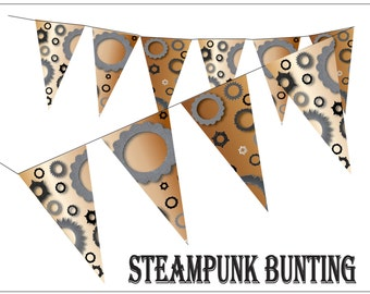 Steampunk Gears Cogs Pennants Printable Industrial Bunting Party Supply Neo-Victorian Nuts Bolts Gears Decor Digital File Sheet of 7 Flags