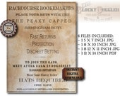 Racecourse Bookemakers British Gang Sign Printable 4 File ~ Aged Steampunk Early 1900s Party, Bar, Home Decor ~ Peaky Capped Birmingham Boys