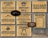 8 Sign Wild West Printable Set ~ WANTED Poster, Vittles, Waterin' Hole, Saloon, Outhouses, Howdy Welcome, Thanks Y'all Cowboy Birthday Decor