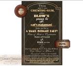 "MICROWEDDING INVITE Roaring 20s Slang JPG ~ Art Deco Black Gold White Open-Face 5.5X8.25"" Digital Files ~ Small Intimate Party Invitation"