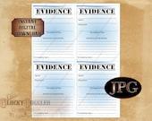 "EVIDENCE BAG Printable 4X5.25"" Zip Top Bag Labels Murder Mystery Escape Room or Spy Secret Agent Detective Event Props Party Decorations JPG"