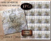 """Prohibition Crate & Bottle Labels Printable Set ~ 1920 Women Teetotaler Alcohol POISON Warning 8X8"""", 20 2X2"""" Tags Aged Wrinkled Paper JPGs"""