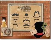 Guide to Mustache Styles Poster Printable 11x14 Barber Shop Steampunk Victorian Gentlemen Mustache Names Gunslinger Strong Man Vault Keeper