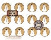 Snowman Merry Christmas Printable 2 Inch Cupcake Toppers JPG File ~ 12 Stickers Envelope Seals Junk Journal Scrapbook Embellishment Circles