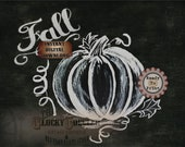 Fall Pumpkin Chalkboard Sign Printable ~ JPG File ~ Hand Painted Thanksgiving Leaves Tendrils Harvest Decor ~ Chalk Art 8.5x11 Inch Download