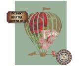 Victorian Rose Airship Dirigible Printable Masking Art Relief Fine Art Steampunk Set Red Pink Rose Scrap Mint Green Sizes 8X10 5X7 4X6
