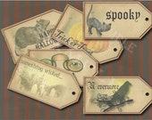 Goth Halloween Hang Tag Printable Jpg ~ Spooky Victorian Junk Journal Rat, Watercolor Pumpkin, Black Cat, THE RAVEN NEVERMORE, Cemetery, Boo