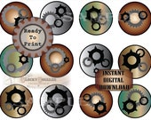 Gears & Cogs Cupcake Toppers Steampunk Printable JPG Sheet ~ 12 Victorian Party Decorations ~ Copper Steel Industrial Style Birthday Decor