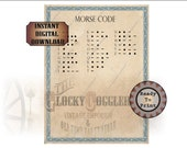 Morse Code Escape Room Printable Puzzle Template ~ jpg File ~ ABC Dots Dashes ~ Blank DIY Riddle Sheet ~ Aged Waterstained Paper Blue Border