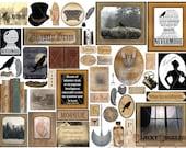 "Goth Poe Junk Journal Printable ~ Dollhouse 1:12 Scale 11X8.5"" JPG ~ Diorama Curiosities ~ Pendulum, Raven, Tell-Tale Heart, Rue Morgue"