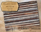 """Log Cabin Wall Dollhouse 1:12 Scale Printable 11X8.5"""" JPG ~ Miniature Rustic Country Wild West Appalachian Chinking Hand Hewn Beams Facade"""
