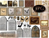"Halloween Dollhouse 1:12 Scale Printable 11X8.5"" JPG ~ Haunted Miniature Diorama, Cabinet of Curiosities Junk Journal ~ Cemetery, Bat, Raven"
