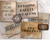 Weapons Crate Label Props Printable ~ Prohibition Speakeasy Western Saloon Party Decor ~ Pea Shooter, Rotating Barrel, Long Rifle, Revolver