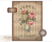 French Roses Vase Printable JPG ~ Old World Style French Download ~ Fleur en Bouquet ~ Aged Paper & Fabric Texture ~ Harlequin Background