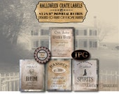 Halloween Booze Crate Labels JPG Set of 4 8.5X11 Grungy Witch's Brew Casket Aged, Highland Spirits, Phantom Pirate Rum, Banshee Whine Signs