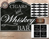 """CIGARS & WHISKEY BAR Party Bundle Printable Set ~ Chalk Art Style Wedding, Bachelor's or New Year's Eve 20X24"""" Sign, Cigar Labels, Coasters"""