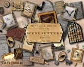 "Haunted Dollhouse 1:12 Scale Printable 11X8.5"" JPG ~ Halloween Scene Setters for Goth Miniature Diorama Junk Journal ~ Cemetery, Bat, Spider"
