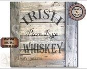 "Crate Label IRISH WHISKEY 12x12"" PDF ~ 1 Weathered Pirate Bootlegger Prohibition Speakeasy Old West Roaring 20s Shipping Box Decoration"