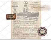 Steamship WELCOME ABOARD LETTER Murder Mystery Escape Room Party jpg File Captain Signature, Sinkless Vessel, First Class Third Class Meals