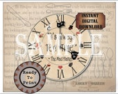 """Mad Hatter Clock Face Placemat Printable 11X14"""" File ~ Tea Party Place Setting ~ """"Always TEA TIME"""" ~ Eat Me Drink Me, Cheshire Cat, Top Hat"""