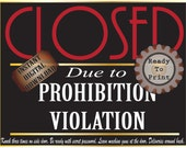 Closed Prohibition Violation Sign Printable ~ Roaring 20s Secret Message Speakeasy Party Decor ~ Deliveries In Back Password Red Black Gold
