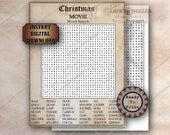 Christmas Movie WORD SEARCH Printable JPG Family Night Social Distancing Escape Room Game, Aged Paper Puzzle 42 Items Narwhal, Soap, Gremlin